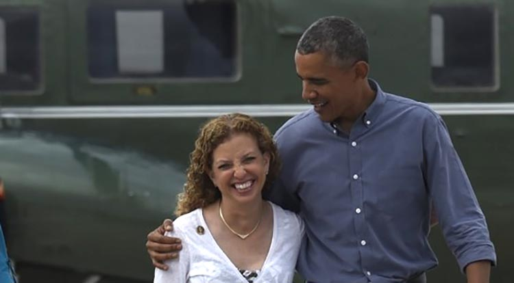 Debbie Wasserman Schultz with President Obama photo by Susan Walsh | AP