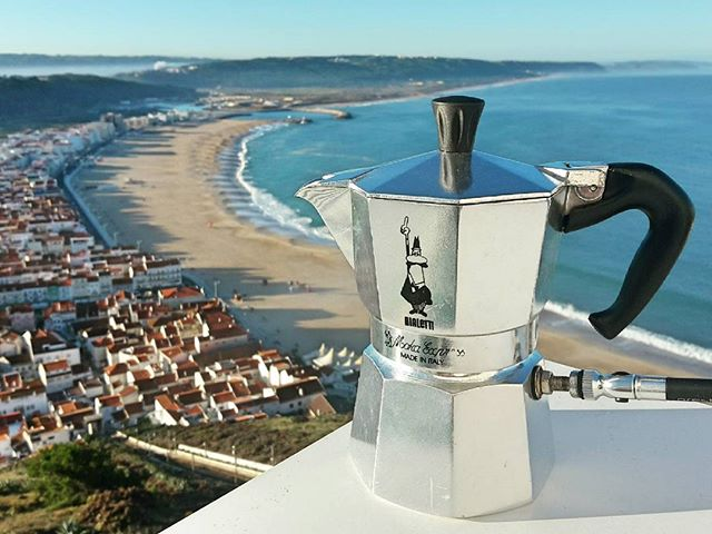 Happy Friday! Just made an espresso with this incredible view from the balcony. In Nazare, Portugal, famous for its huge waves in winter.  Now using Kenyan espresso beans roasted by Sanzaia in Porto, Portugal. Quite a full bodied, dark coffee, fairly typical of the coffee they seem to like here on the Iberian Peninsula.  #coffee #morning #caffeine #espresso #crema #bialetti #stovetop #mokapot #bike #pump #cycling #melbourne #startup #innovation #coffeebreak #melbourne_coffee
