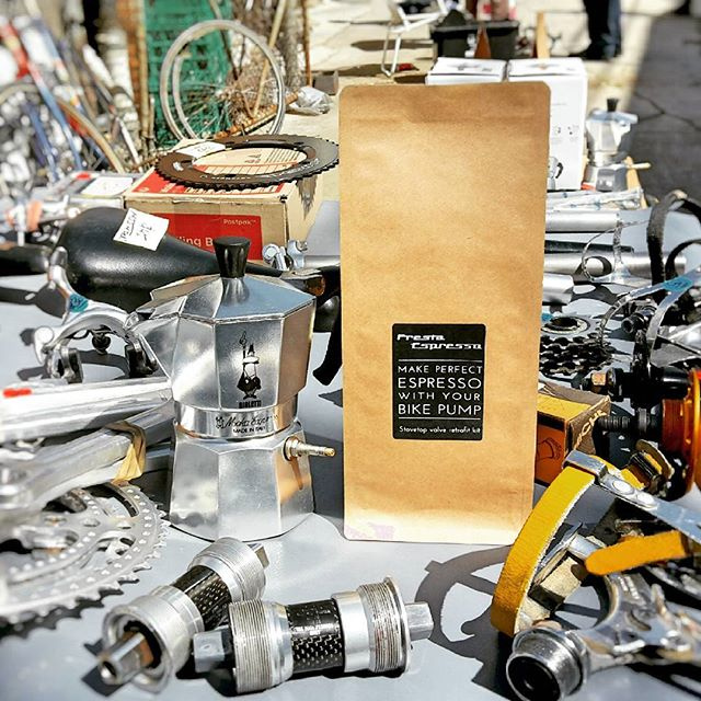 Vintage bikes and coffee - the perfect combination!  Hung out at the Vintage Cycle Club of Victoria's bike swap meet in Richmond this morning. @abbotsfordcycles  Link in bio.  #coffee #caffeine #espresso #crema #bialetti #stovetop #mokapot #vintage #bike #pump #cycling #melbourne #startup #innovation #morning #retro #retrobike #vintagebike #market #melbourne_coffee