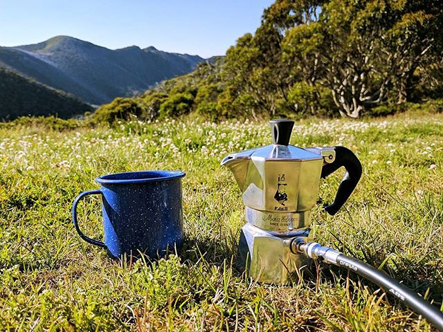 Morning coffee with a view... can't beat this!  Camping at Mt Feathertop in the Victorian Alps.  Stunning views in every direction.  Rough sleep, so this coffee tasted all the better!  #coffee #caffiene #espresso #camping #hiking #bialetti #bialetti #bikepump #cycling #melbourne #victoria #greatoutdoors