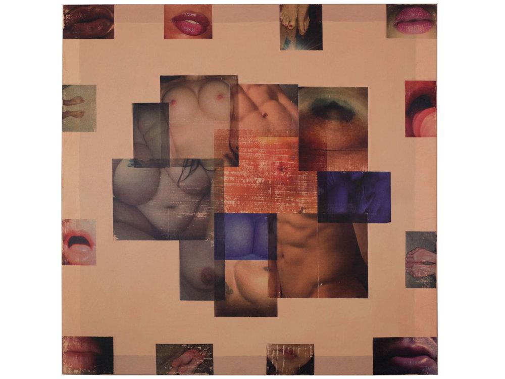 "Close Ups  Acrylic and photocopy ink on canvas 40"" x 40"""
