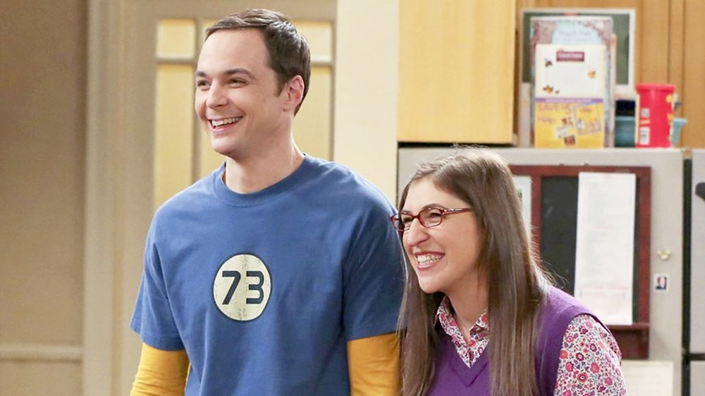 photo CBS 'The Big Bang Theory' | Getty Images Mayim with co-star, Jim Parsons on set as 'Sheldon and Amy'