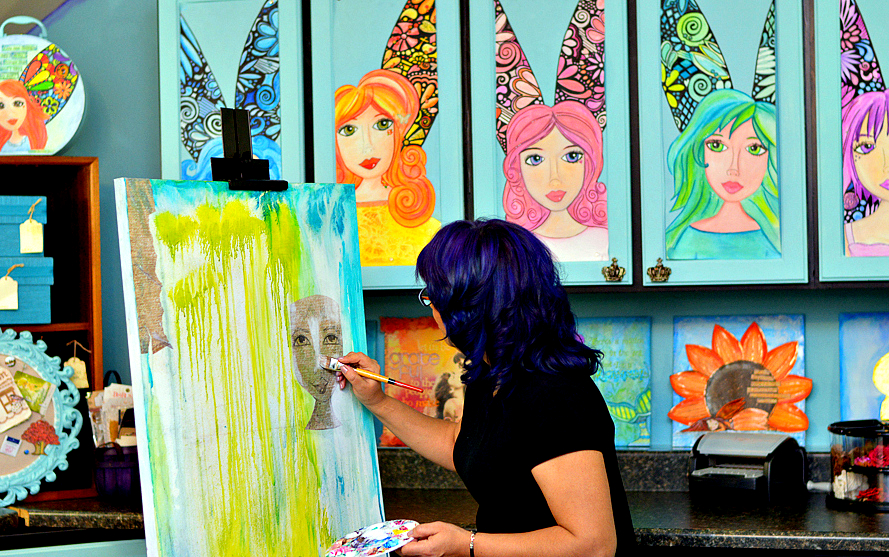 Rita painting in her studio...