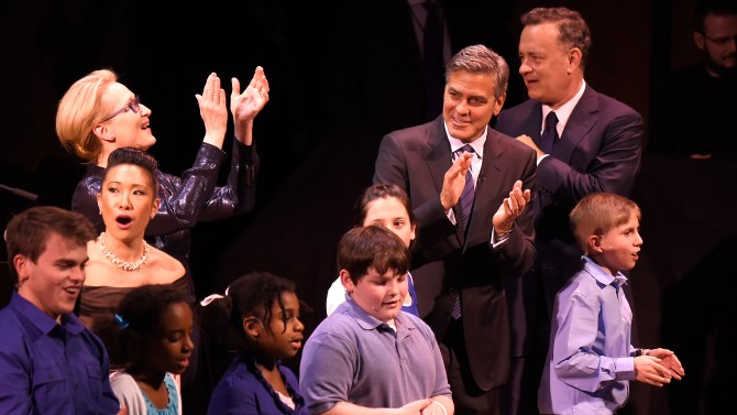NEW YORK, NY: Meryl Streep, George Clooney and Tom Hanks onstage with SeriousFun campers at the SeriousFun Children's Network 2015 New York Gala: An Evening Of SeriousFun Celebrating the Legacy Of Paul Newman at Avery Fisher Hall at Lincoln Center for the Performing Arts on March 2, 2015 in New York City. (Photo by Kevin Mazur/Getty Images for SeriousFun Children's Network)