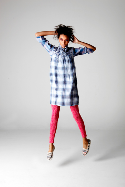 shirt: Wild Blue Denim dress: Max studio tights: Lucky Brand