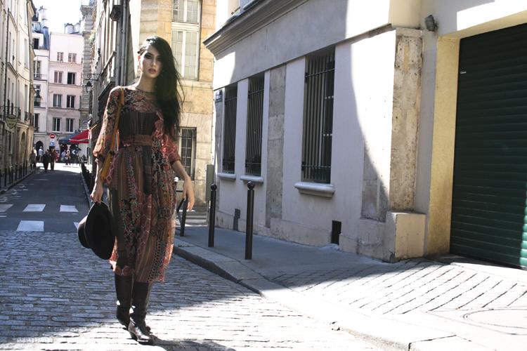 Elevated Boho dress, earrings: Zara hat: Rag & Bone boots: Aquazzura bag: Moroccan