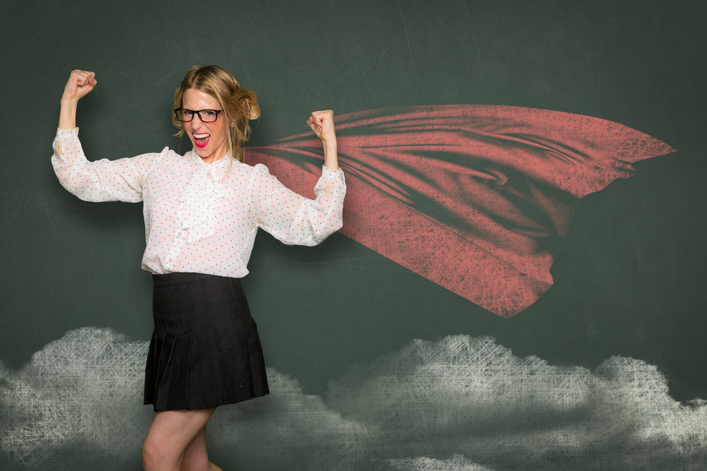 Nerdy teacher showing strength determination education pride will power learning teaching intelligence superhero