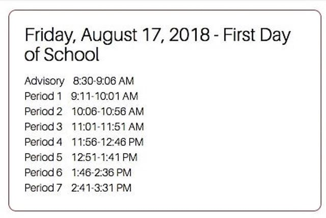 The schedule for the first day tomorrow!! Have a great day guys👍🏻 #firstdayofschool #gettingupearly #letsdothis #heritagehighschool