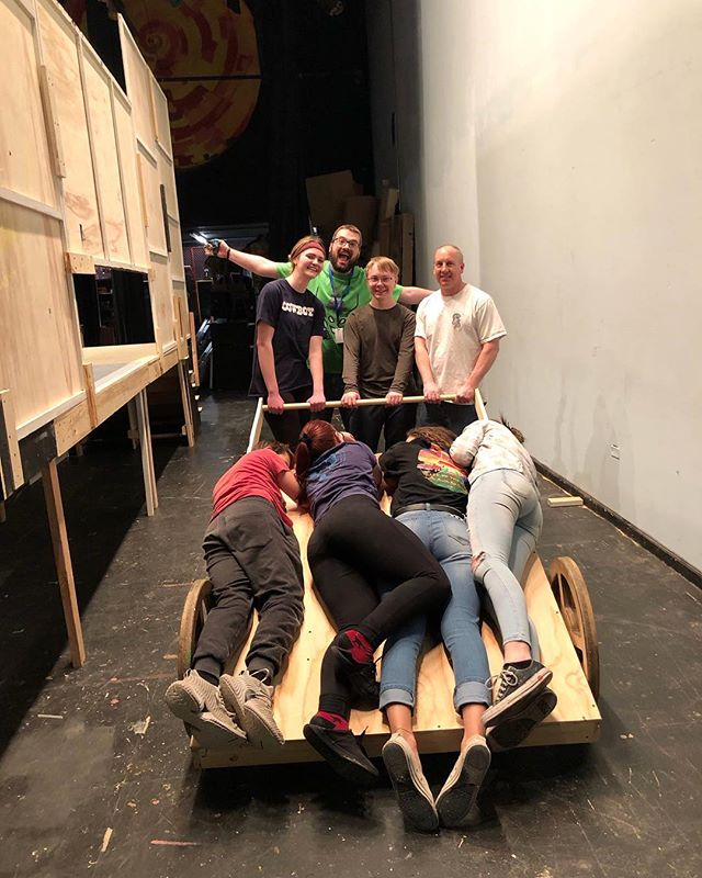 BRING OUT YOUR DEAD 💀! Our lovely tech members finished the cart for all our dead bodies in SPAMALOT