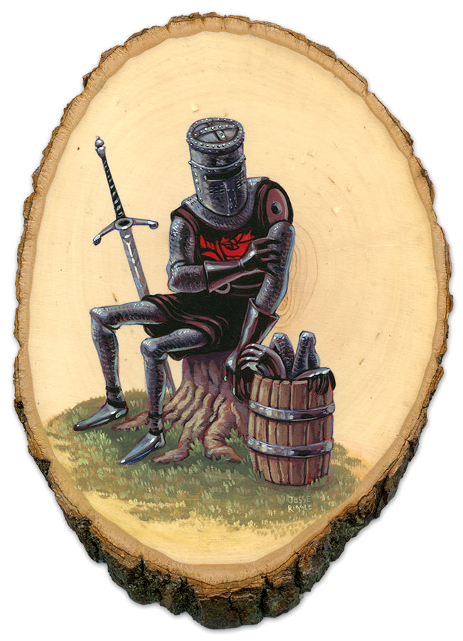 Crazy 4 Cult 9 opened  @g1988  this weekend.  I made this painting for the show of the Black Knight from Monty Python and the Holy Grail.  He is re-attaching limbs post flesh wounds.  What a guy!  Check out the rest of the show, tons of awesome work!  http://nineteeneightyeight.com/collections/crazy-4-cult-9