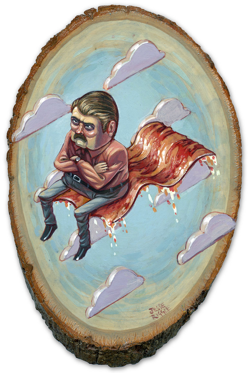 "I'm a little slow posting this, this is a piece I made for the  Gallery 1988  show  ""Is This Thing On?""   That's  Nick Offerman  up there on that bacon."