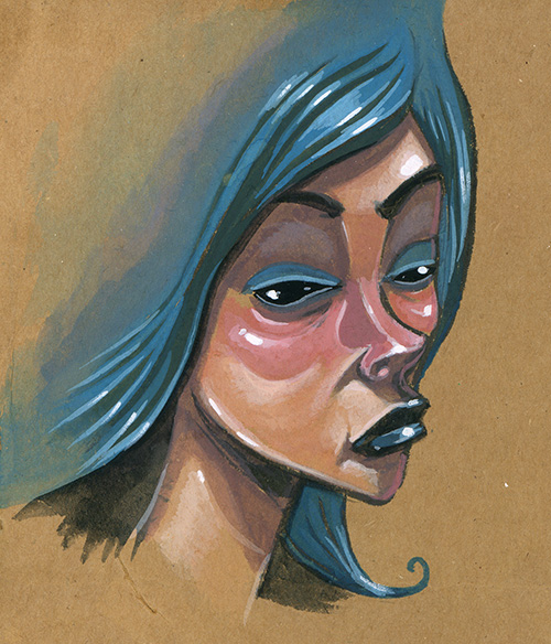 I used to paint on cardboard a lot, but it's been a while.  I doodled this face on a chunk sitting around so I decided to paint it up.  Gouache, brush pen and cardboard, good times.