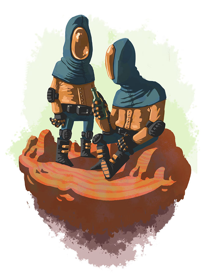 Here is another quick doodle.  A couple off-planet miners taking a break.   EDIT: How is that guy going to drink that thing through his glass face?!