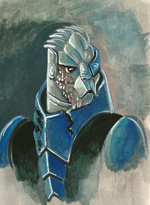 Here is another quick 'n dirty mass effect gouache doodle.  The venerable Garrus Vakarian.