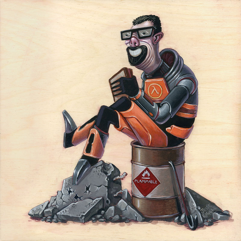 Gallery1988 is holding it's second annual Old School Video Games opening this Friday, October 26.   This is my piece based on the Half-Life series (which I guess is both old- and current- and maybe someday new-school).  Gordon Freeman enjoying a well deserved lunch break.