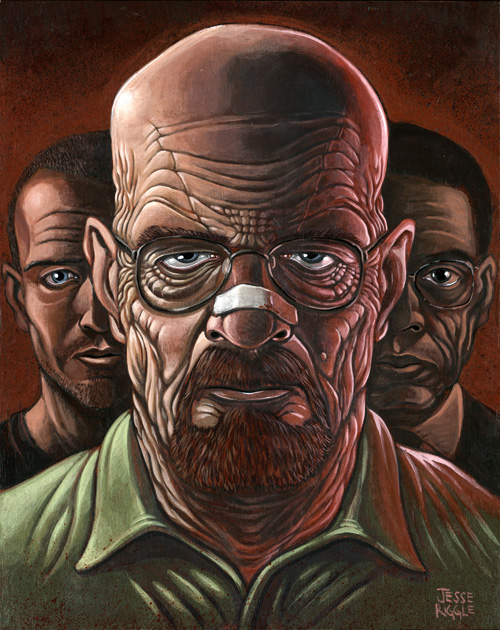 I guess I can share this now.  Gallery1988 is holding a sweet Breaking Bad artshow in conjunction with breakinggifs.com.  The show had its official opening last night in LA.  This is the piece I made.  Walter White, with maybe a couple extra wrinkles for good measure.