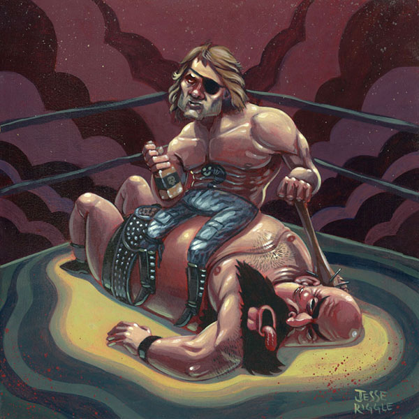 This year's Crazy 4 Cult opened at Gallery 1988 this past weekend.  I made this painting for it honoring Snake Plissken from Escape from New York.