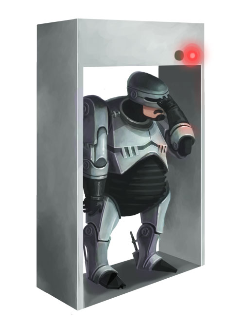 I made a pudgy Robocop in the computer.  Poor metal-man always setting off those pesky metal detectors.  Too bad he doesn't have a prime directive telling him not to walk through them.