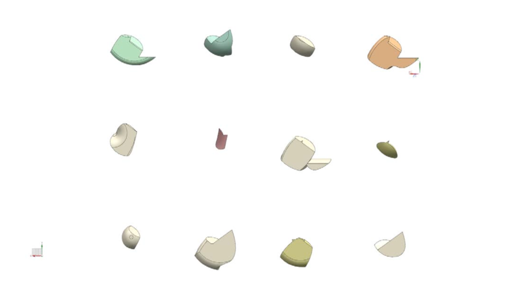 One generation of shapes generated using EvoShape