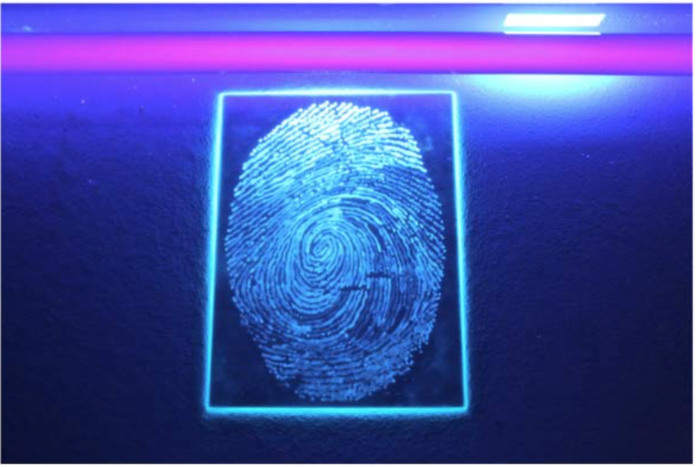 a5 fingerprint drawn with permanent security marker pen. UV light shone across the glass.png
