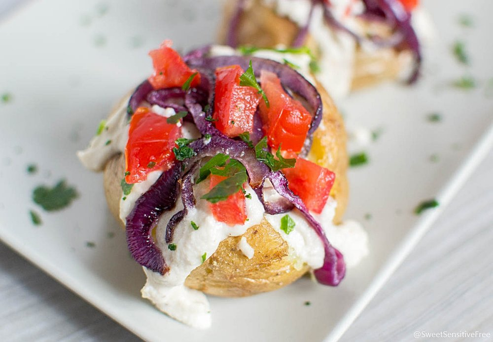 Best Vegan Crispy Loaded Baked Potatoes with Cashew Cheese