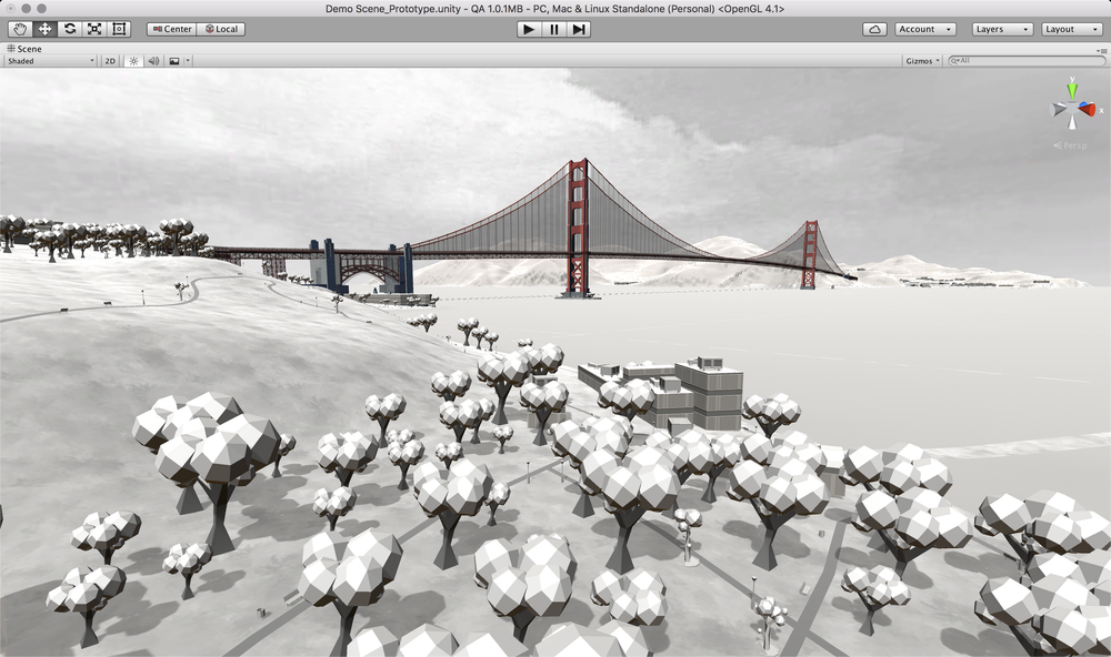 Golden Gate bridge 3Dwarehouse Sketchup model placed straight into a generated Mantle scene of the area