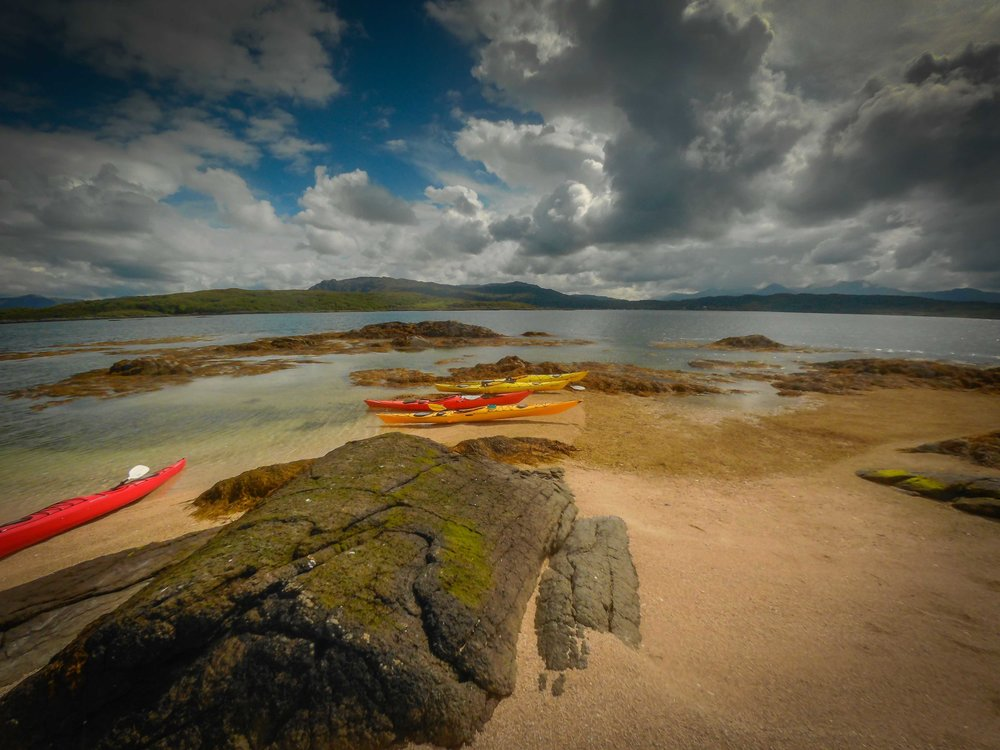 The skerries at Arisaig are a fantastic place for kayaking. They offer protection from the elements, many interesting islands to explore which change with the tide, wonderful views and lots of inquisitive seals.