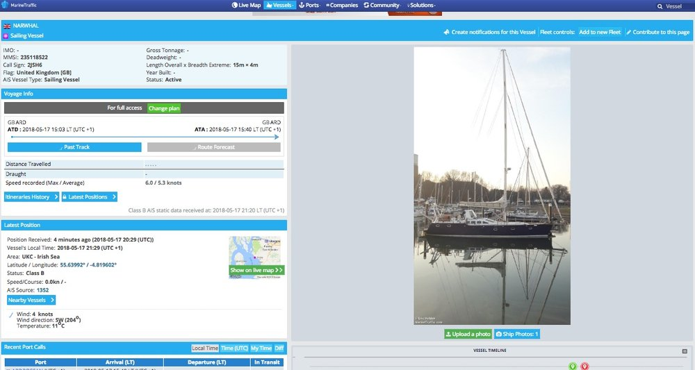 Marine Traffic vessel homepage