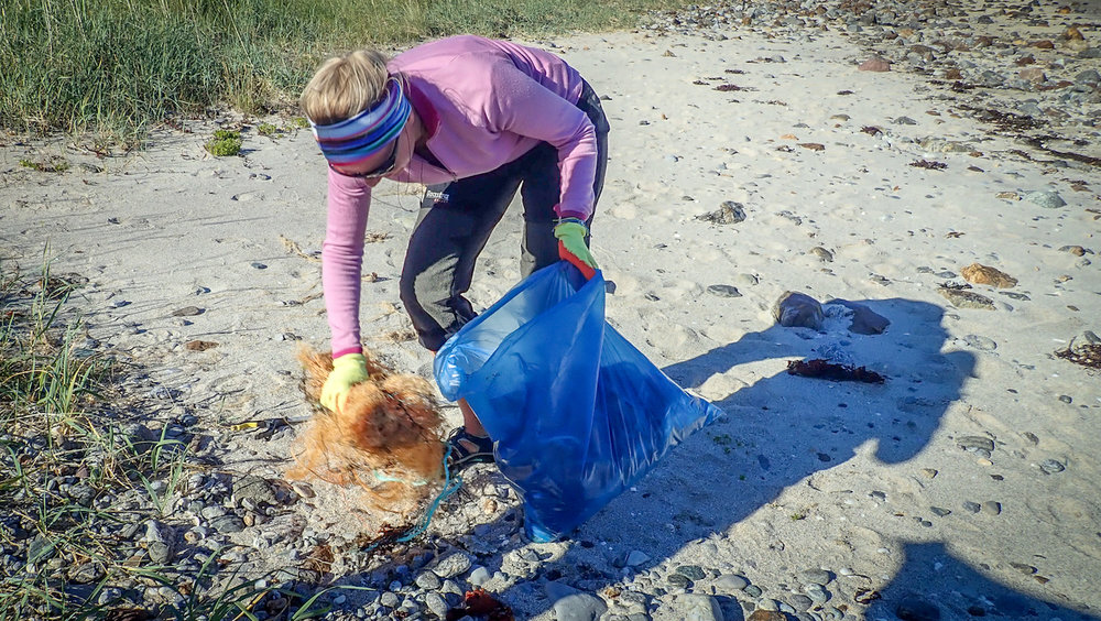 Maaike hard at work on an arctic beach clean