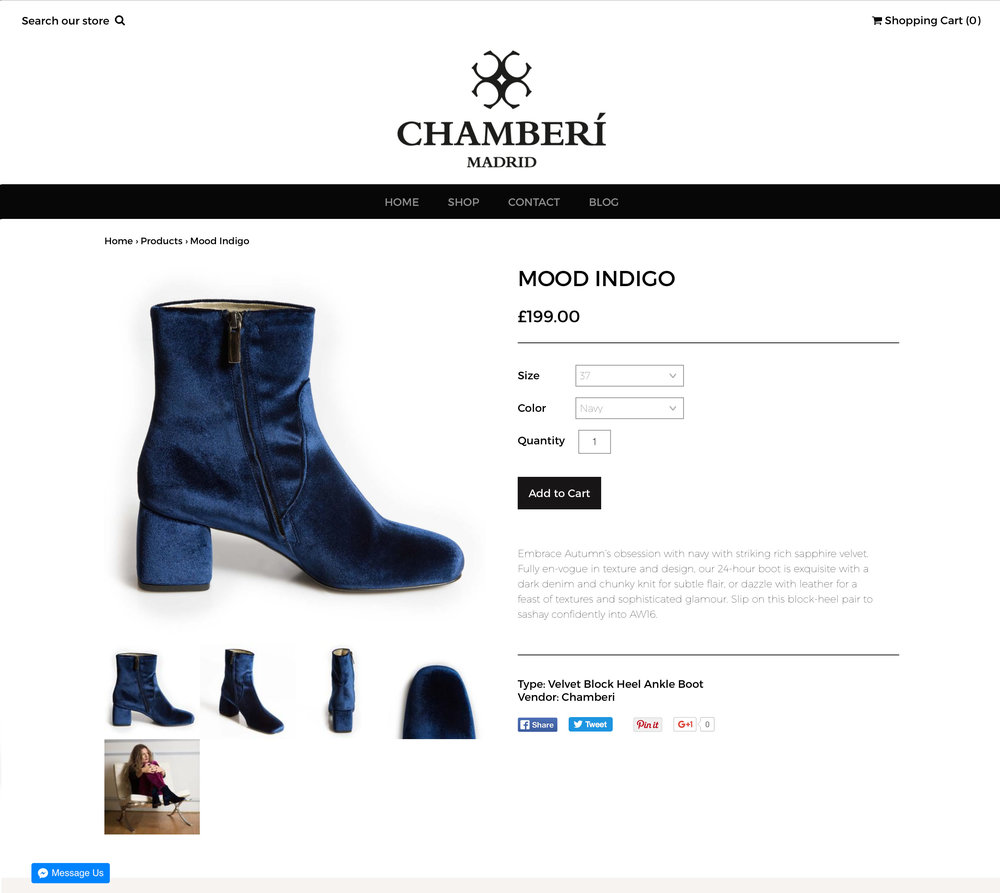Webawaba Shopify ecommerce store for Chamberi Shoes