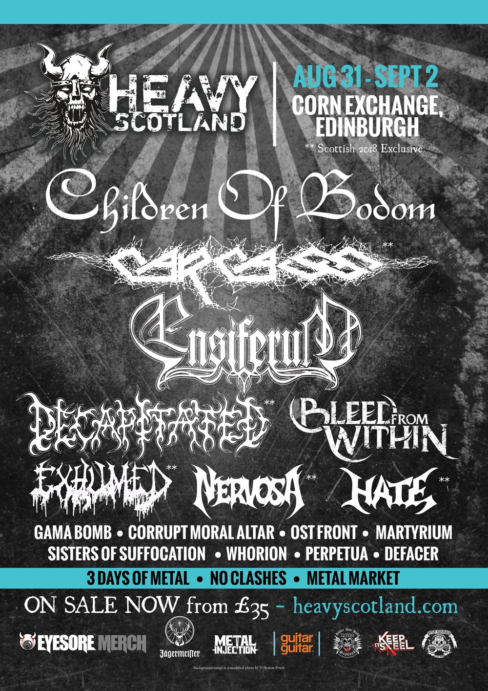 HEAVY SCOTLAND 2018  completes its lineup announcing the final two headliners,  CHILDREN OF BODOM , and  ENSIFERUM . They're joined by  BLEED FROM WITHIN  for the festival at Edinburgh's Corn Exchange, from Friday 31 August to Sunday 02 September. Tickets from only £35.  Full line-up (*Scottish 2018 exclusive):  CHILDREN OF BODOM CARCASS* ENSIFERUM DECAPITATED* BLEED FROM WITHIN EXHUMED* NERVOSA* HATE* GAMA BOMB*  CORRUPT MORAL ALTAR OST+FRONT* MARTRYIUM* SISTERS OF SUFFOCATION*  WHORION* PERPETUA   DEFACER    Purchase tickets from:  http://www.heavyscotland.com/    Under-18 tickets are available now at just £35 and student Weekend tickets at just £50.  The festival have also announced their partnership with Haymarket Hub and Code Hostel. Buy the hotel ticket on  http://www.heavyscotland.com/hotel-deals/  and you receive a discount code for the weekend.  The news follows a highly impressive first year from  Heavy Scotland , placing Edinburgh on the international metal map. Headliners  Behemoth  and  Arch Enemy  topped a stellar bill, which also included the likes of  Fleshgod Apocalypse ,  Destruction ,  Finntroll ,  Havok  and more. Garnering local and international acclaim,  Heavy Scotland  is fast becoming Scotland's national heavy metal festival, and is the largest of its kind in the country's capital of Edinburgh. Borne from a love of all things loud and with a passion for the local scene,  Heavy Scotland  is an event deserving of the attention so far received.