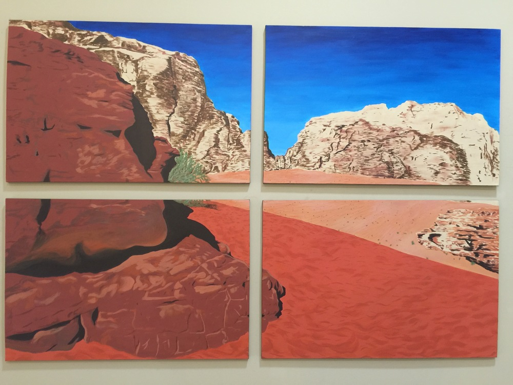 "Wadi Rum, Jordan.   Acrylic on 4,  24"" x 30"" canvases.  2008  (~20 hours)"