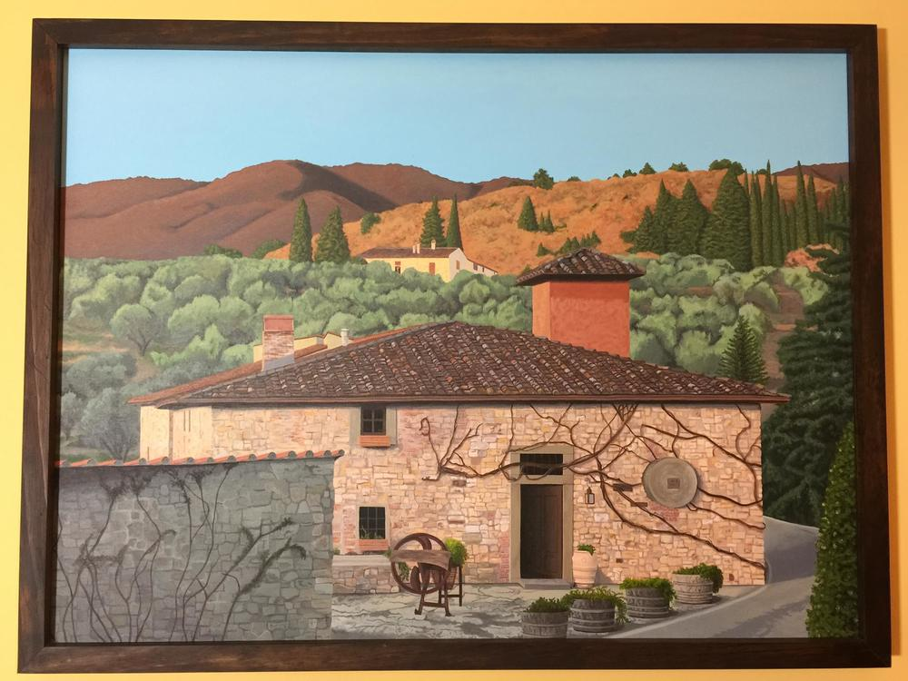 "Servants' Quarters, Tuscany.  Acrylic on 48"" x 36"" canvas.  2010  (~460 hours)"