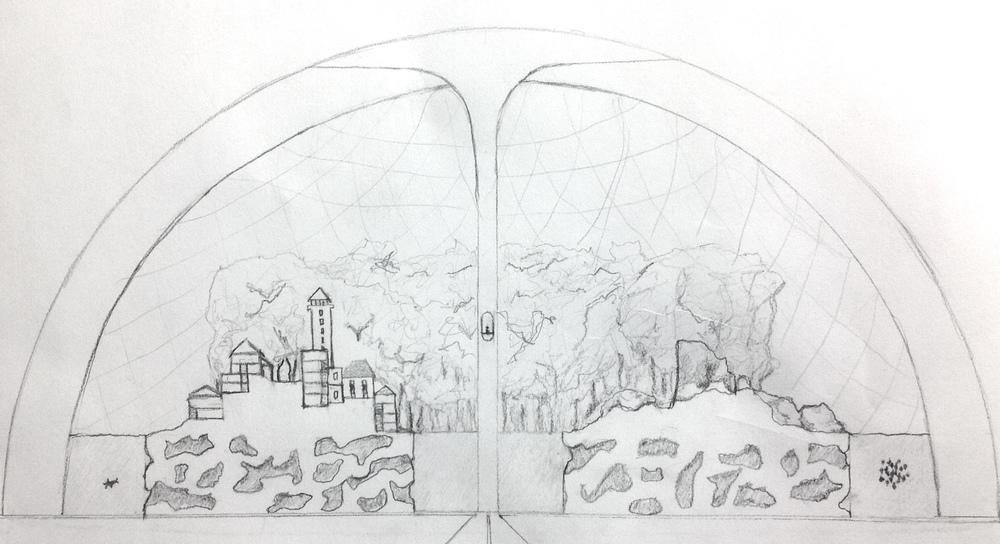 Original sketch of the dome-shaped school in Circus Of Prodigy where robots compete on the land, in the air, and underwater.
