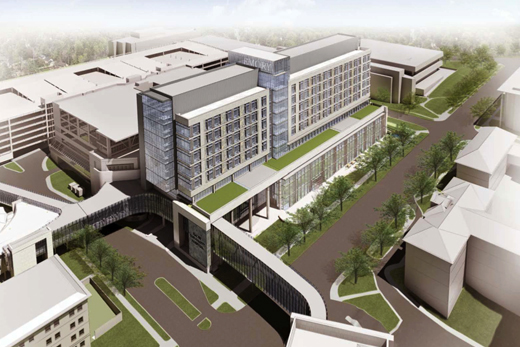 This rendering shows Clifton Road in front of Emory University Hospital's new J wing, which is under construction now.