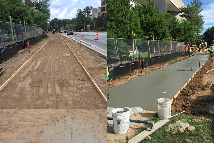 Left: Prep work for new sidewalk by WHSCAB / School of Medicine Right: Fresh concrete placed for new sidewalk by WHSCAB / School of Medicine