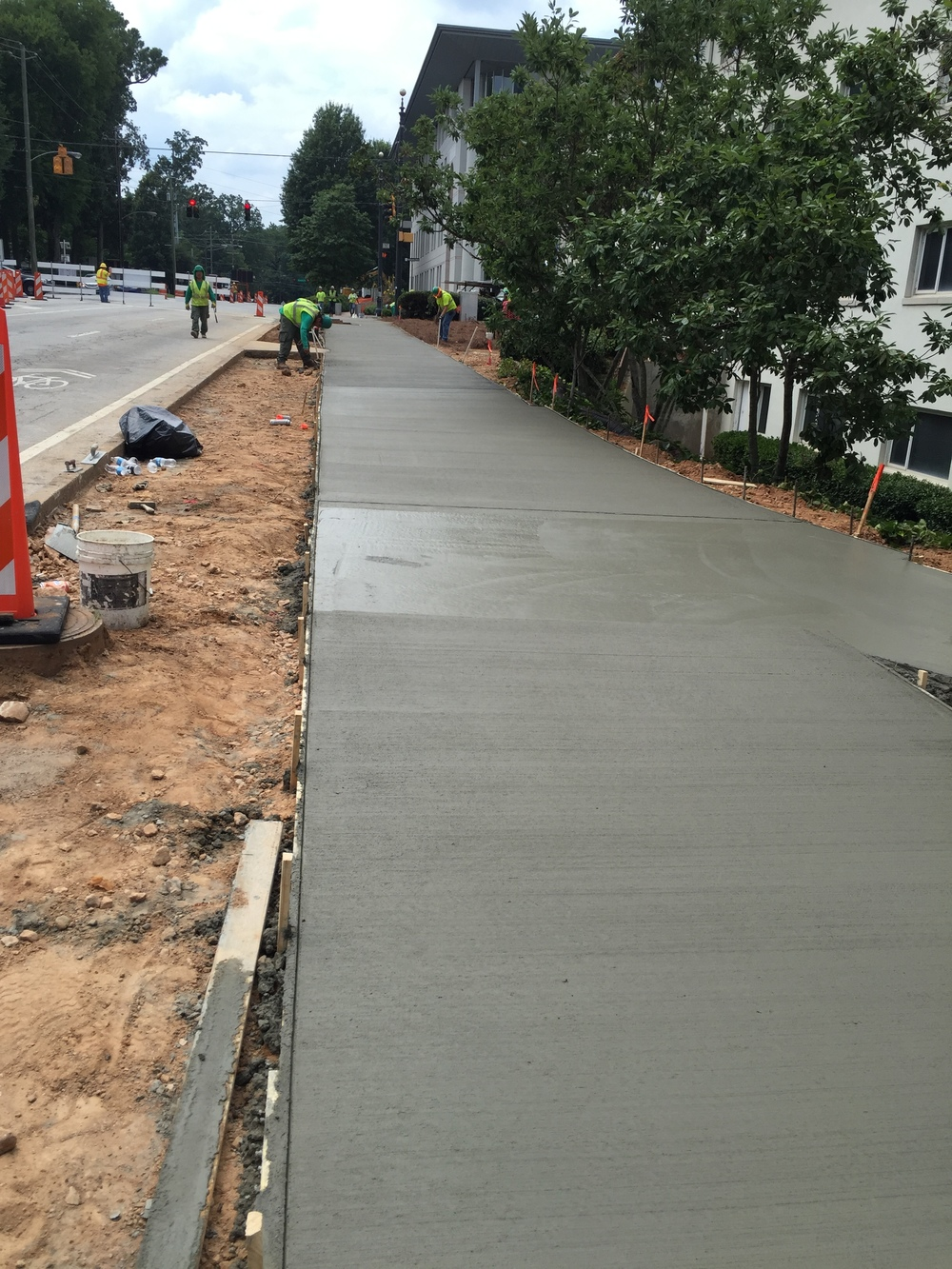 New sidewalk in front of Thomas Hall