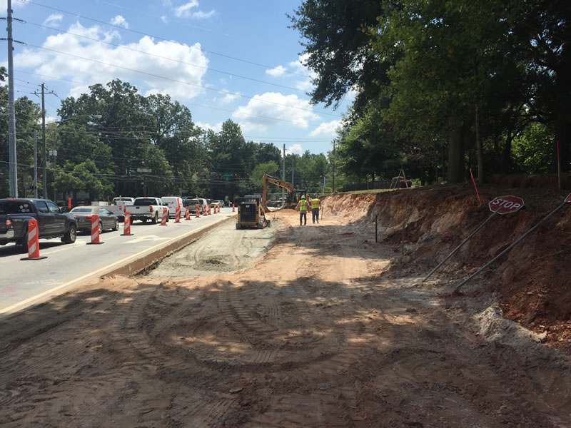 Excavation for new turn lane and retaining wall in progress