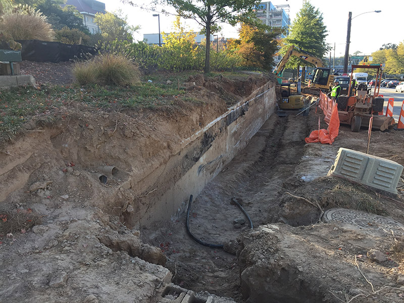 New retaining wall footing at CHOA