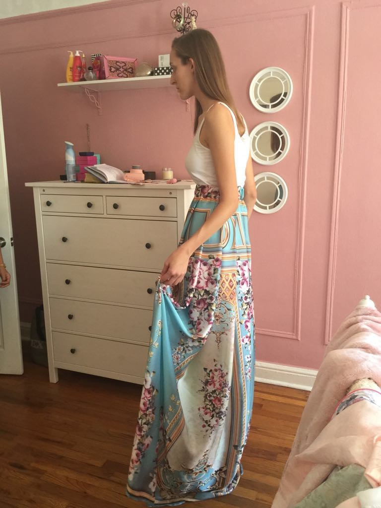 Dominique Doucette trying on our show stopper, the Versailles Skirt.