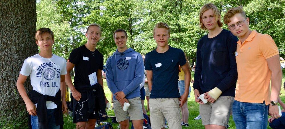 Magnus (t.v), Hans,Andreas, Audun, og Victor deltok på Bli kjent-dagen, og ser frem til neste skoleår.