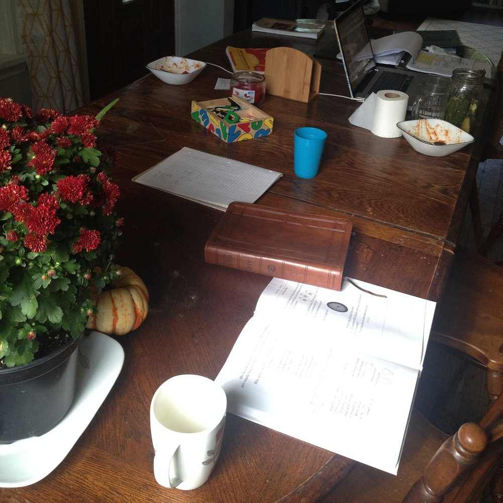 Clutter: evidence of a full life! Here's our dining table, after morning time and lunch but  before cleanup time!!