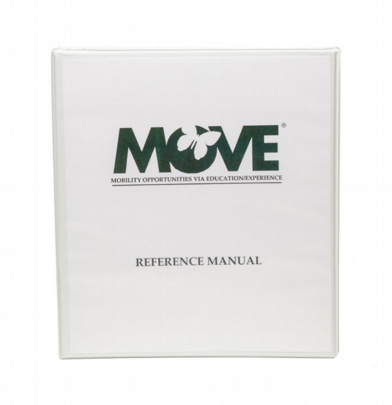 "MOVE Reference Manual    $200.00   The MOVE (Mobility Opportunities Via Education/Experience) Program is designed to help individuals with severe disabilities learn the skills needed to sit, stand, walk and transition. Included is a ""Top-Down Motor Milestone Test®, an explanation of physical prompts and how to systematically decrease them for more independent movement. Goals can easily be incorporated into the IEP (Individual Education Plan) or any other plan. The MOVE Program is infused into the individuals' typical day and instruction is centered around functional activities. (Available in Spanish.)"