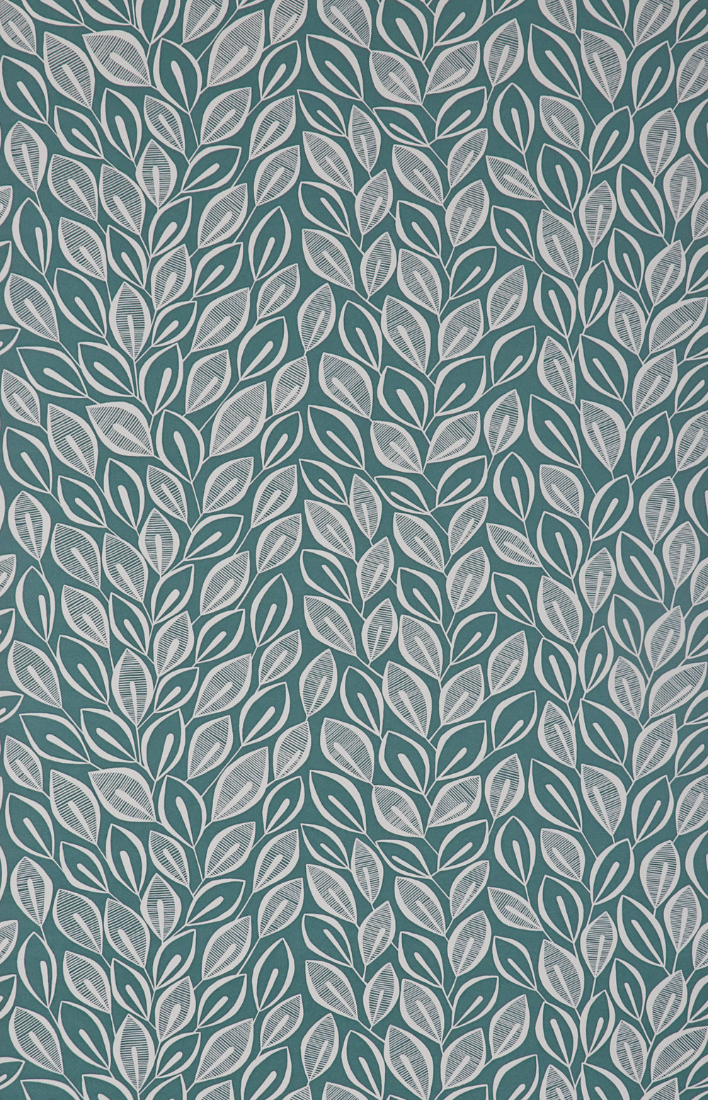 Miss Prints | Leaves Teal with White