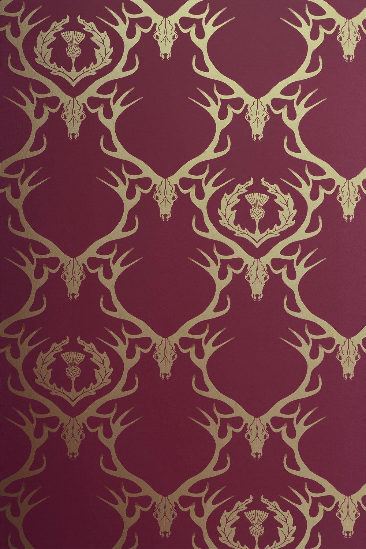 Barneby Gates - Deer Damask - Claret Gold - Detail.jpg