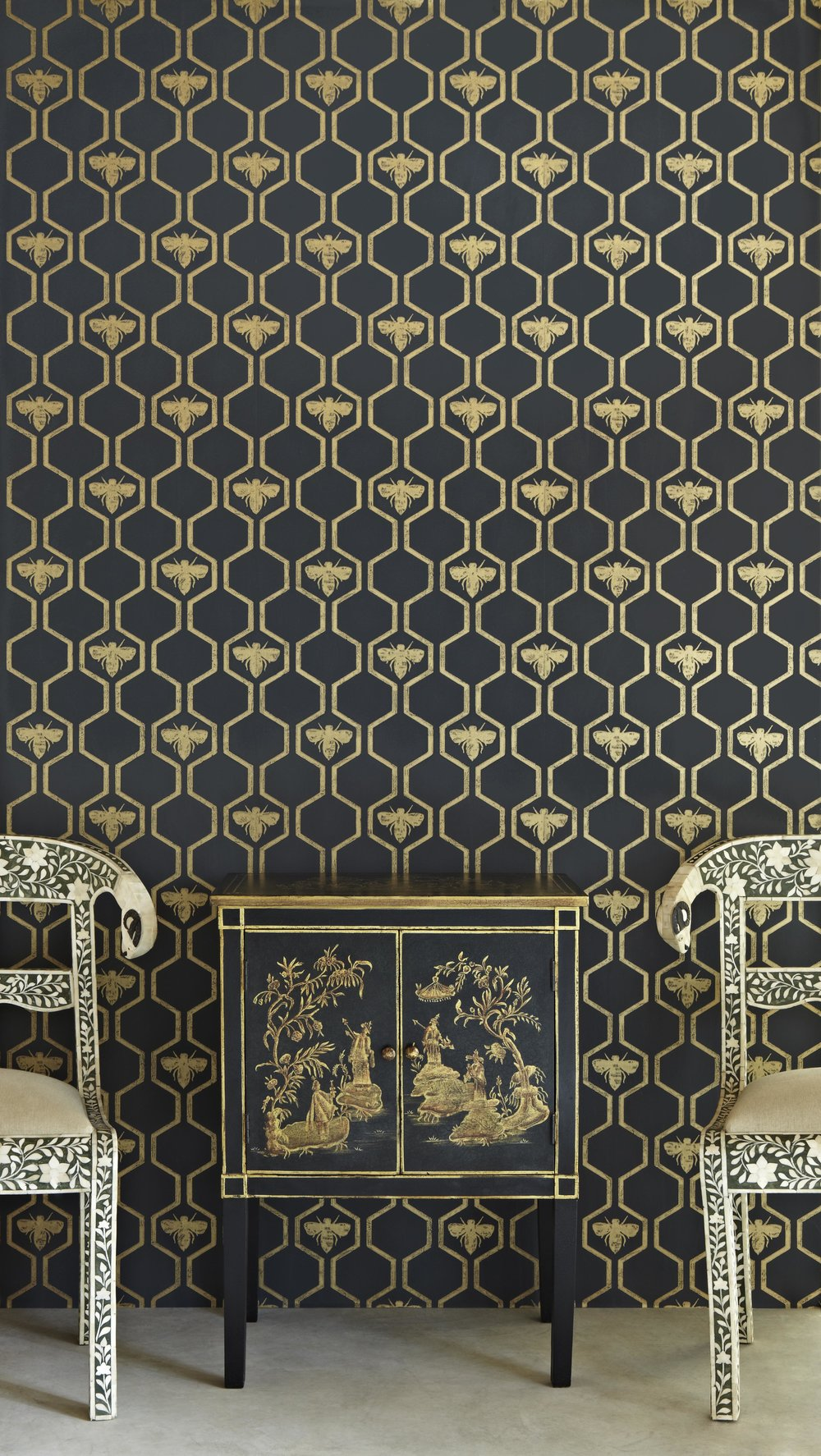 Barneby Gates - Honey Bees - Gold on Charcoal - Set Shot.jpg
