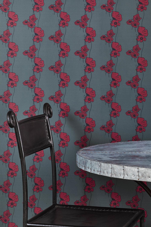 Barneby Gates - Poppy Fields - Red on Gunmetal - Set shot - Detail.jpg