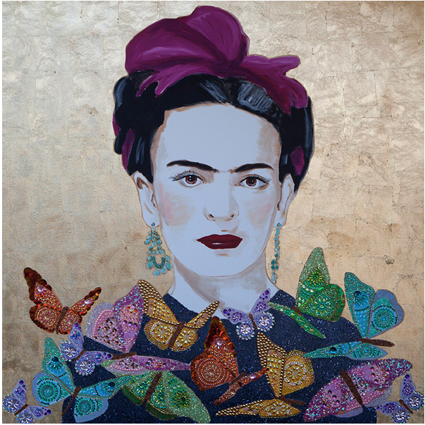 Frida With Butterfly Collar and Gold Leaf 60x60. Acrylic and mixed media on canvas heavy resin. By Ashley Longshore.