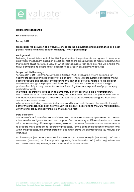 e-Valuate-Cost Engagement Letter Template