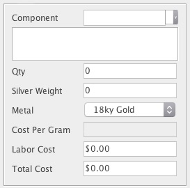 Example of a custom BoM control that can cost metal components by calculating weight in varying metals by specific gravity using the silver weight as a base, and, cost based on current market value.
